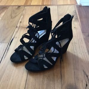 Black Suede Lace Up Wedges